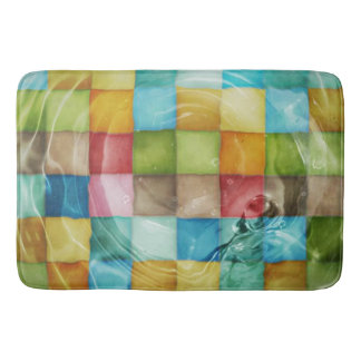Vivid Squares Engulfed In Water Bath Mat
