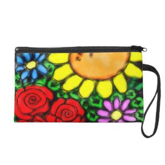 Vivid Sunflower & Roses Watercolor Garden Wristlet Purse