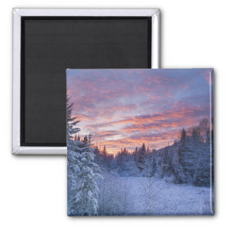 Vivid sunset paints the sky above wintery magnet