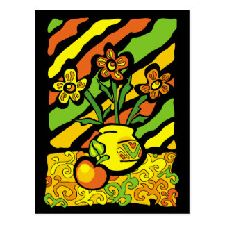 vivid vase with flowers postcards
