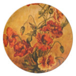 Vivid Victorian 1890 Poppies Painting on Plate