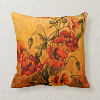 Vivid Victorian Oil Painting of Poppies Pillow