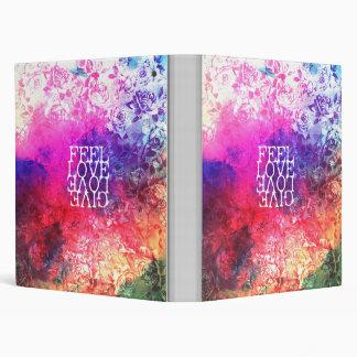 Vivid Vintage Grunge Floral Love Saying Design Vinyl Binder