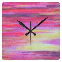 Vivid watercolor sunset square wall clocks