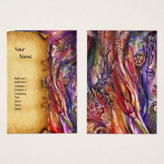 VIVIEN AND MERLIN Pink Purple Fantasy Parchment Business Card