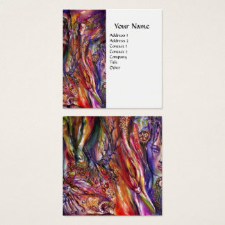 VIVIEN AND MERLIN Pink Purple White Fantasy Square Business Card