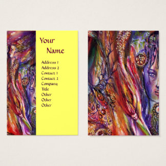 VIVIEN AND MERLIN Pink Purple Yellow Fantasy Business Card