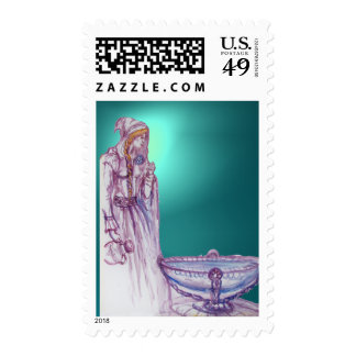 VIVIEN  gem blue aquamarine Postage Stamp