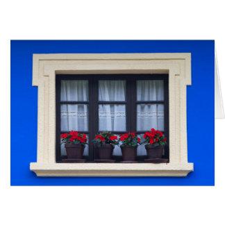 Vivienda residencial con las flores en ventanas tarjeta de felicitación