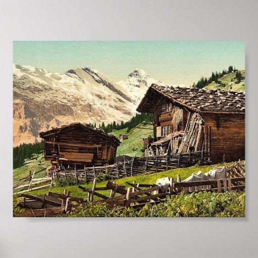 Vivienda suiza, Murren, Bernese Oberland, Switzerl Poster