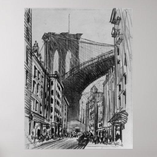 Viviendas de New York City debajo del puente de Br Póster
