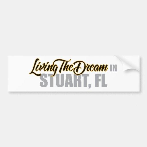 Viviendo el sueño en Estuardo Etiqueta De Parachoque