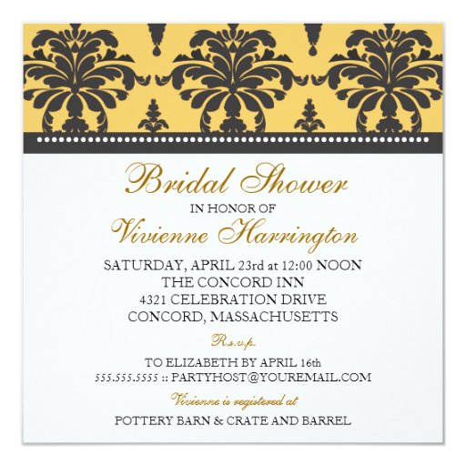 Vivienne Damask Bridal Shower Invitation
