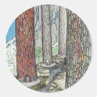 Vivimos en los árboles etiqueta redonda