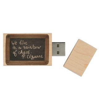 Vivimos en un arco iris del caos - Quote de P. Pen Drive De Madera USB 2.0