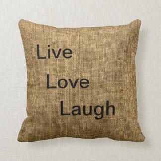 Vivo, amor, almohada de la arpillera de la risa