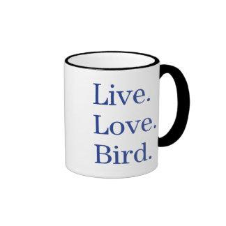 Vivo. Amor. Pájaro Taza A Dos Colores