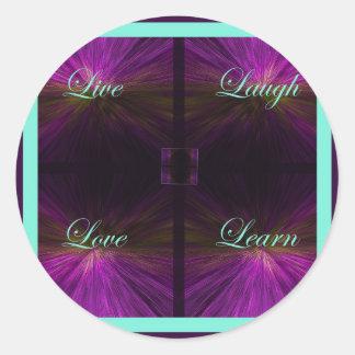 Vivo, amor, risa, aprenda - la púrpura etiquetas redondas