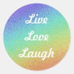Vivo, amor, risa etiqueta redonda