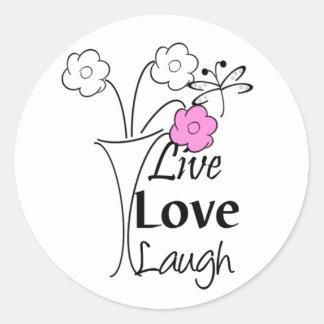 Vivo, amor, risa pegatinas redondas