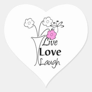 Vivo, amor, risa calcomania de corazon
