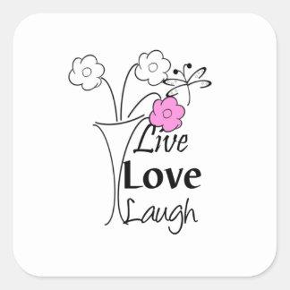 Vivo, amor, risa calcomania cuadradas personalizadas