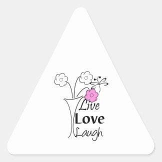 Vivo, amor, risa calcomanía triangulo