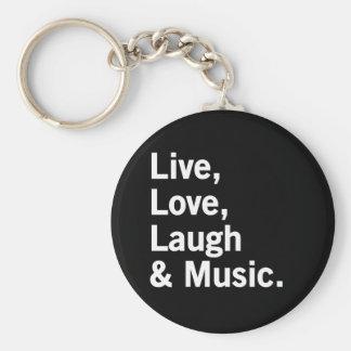 Vivo, amor, risa y música llavero redondo tipo pin