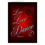 Vivo, amor, tarjeta de felicitación de la danza