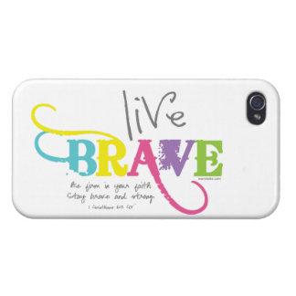 Vivo Brave con la fe valerosa iPhone 4/4S Carcasas