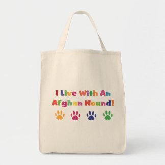 Vivo con un afgano bolsa tela para la compra
