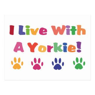 Vivo con un Yorkie Tarjetas Postales