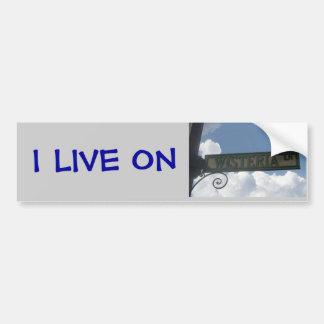 Vivo en carril de las glicinias pegatina para auto