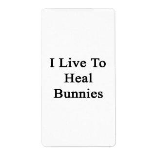 Vivo para curar conejitos etiqueta de envío