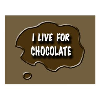 Vivo para el chocolate postal