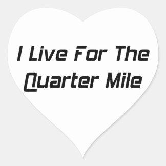 Vivo para el cuarto de milla por Gear4gearheads Pegatina En Forma De Corazón