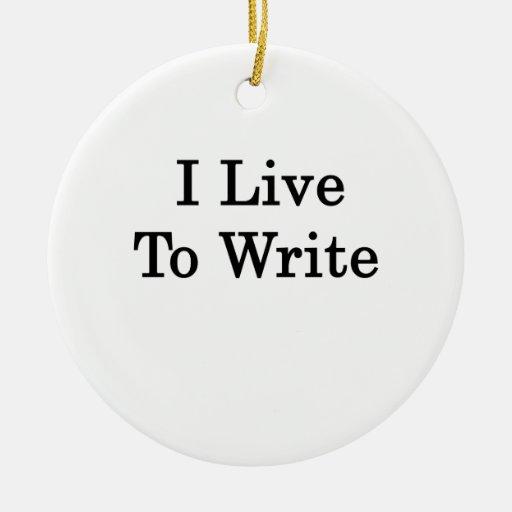 Vivo para escribir adorno navideño redondo de cerámica