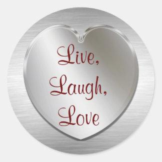 Vivo, risa, amor en los pegatinas de plata del pegatina redonda