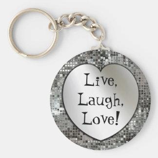 ¡Vivo risa amor Llavero del brillo