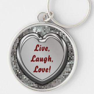 ¡Vivo risa amor Llavero del corazón