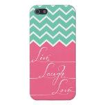 vivo, risa, amor/rosa y galón del verde iPhone 5 carcasa