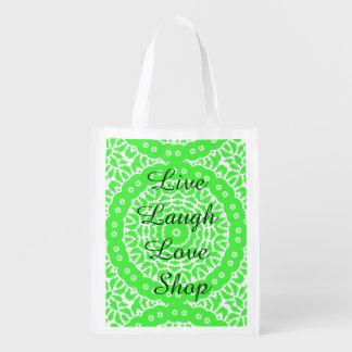 Vivo, risa, amor, tienda bolsa reutilizable