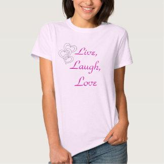 Vivo, risa, camiseta del amor playeras
