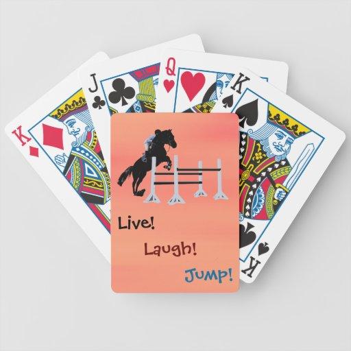 ¡Vivo! ¡Risa! ¡Salto! Caballo ecuestre Baraja Cartas De Poker