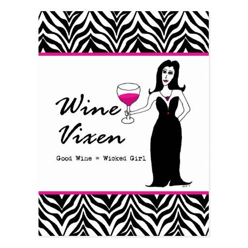 """Vixen """"buen vino del vino = chica travieso """" tarjetas postales"""