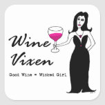 "Vixen ""chica travieso "" del vino colcomanias cuadradas"