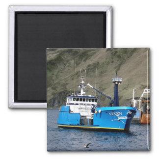 Vixen, Crab Boat in Dutch Harbor, Alaska 2 Inch Square Magnet