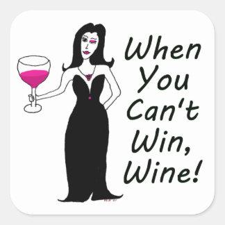 Vixen del vino simplemente travieso cuando usted pegatina cuadrada