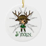 Vixen Double-Sided Ceramic Round Christmas Ornament