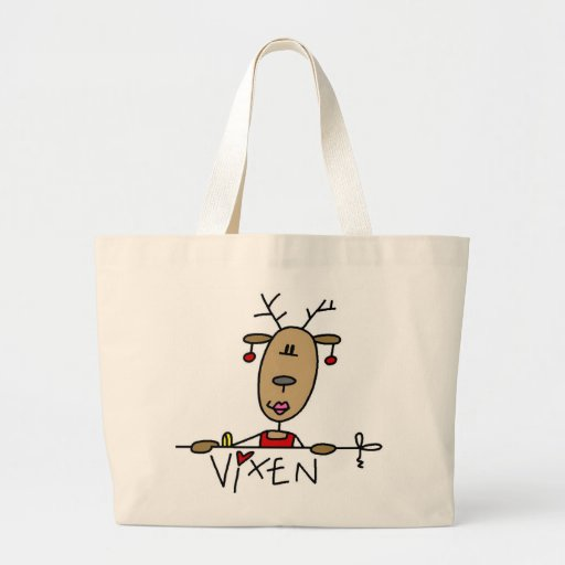 Vixen Reindeer Christmas Tshirts and Gifts Large Tote Bag